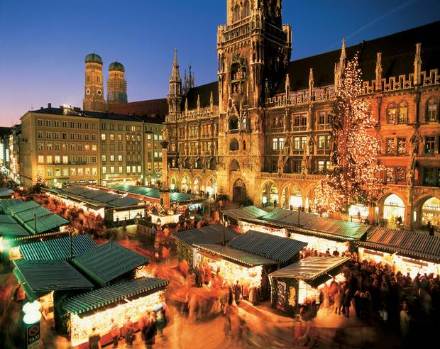 The main section of Munich's oldest Christkindlmarkt, dating back to the 1600s, is found at Marienplatz.