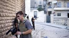 James Foley at work in Aleppo, Syria. (MAnu Brabo)