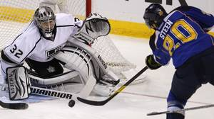 Los Angeles Kings goalie Jonathan Quick makes a save on St. Louis Blues' Alexander Steen in the first period during Game 1 of their NHL Western Conference semi-final playoff hockey game in St. Louis, Missouri, April 28, 2012.