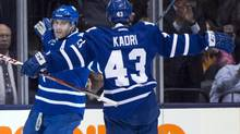 Toronto Maple Leafs left winger Joffrey Lupul, left, celebrates his goal with centre Nazem Kadri during first period NHL action against the Tampa Bay Lightning in Toronto on Wednesday, March 20, 2013. (Frank Gunn/THE CANADIAN PRESS)