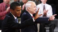 Barack Obama and John McCain greet the crowd before they square off in a U.S. presidential debate during the 2008 election. (Charles Dharapak/Reuters/Charles Dharapak/Reuters)