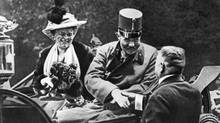 Archduke Ferdinand and his wife Sophie one hour before they would be shot a killed by Serb nationalist Gavrilo Princip as they drove through the streets of Sarajevo. (© Bettmann/CORBIS)
