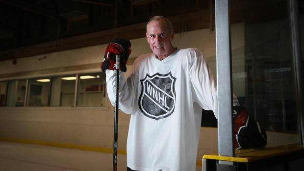 Hockey broadcaster Ron Maclean, the last to leave the ice after the season opener of the Wednesday Night Hockey League in Oakville on October 6, 2016. The group who has been playing hockey together for 30 years.