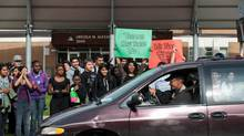 Students from Lincoln Alexander Secondary School in Mississauga protest Bill 115 and the ensuing cuts to their extracurricular activities on Sept. 21, 2012. (Galit Rodan/Globe and Mail)