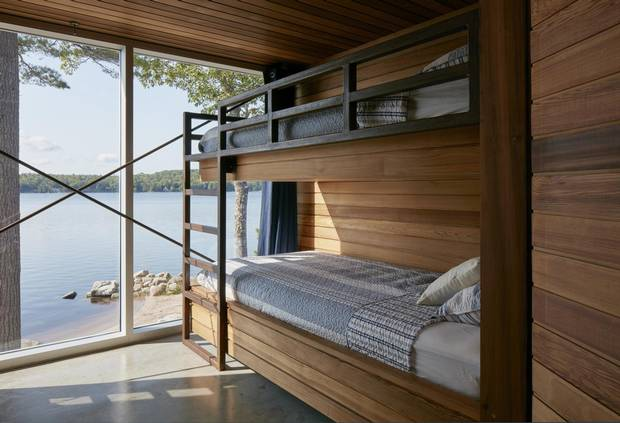 The children's bedroom looks out on to the beach.