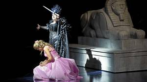Isabel Bayrakdarian as Pamina (kneeling) and Aline Kutan as the Queen of the Night in