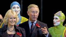 Prince Charles and his wife, Camilla, the Duchess of Cornwall, meet Cirque de Soleil performers in Montreal during a visit to Canada in 2009. (Graham Hughes/Graham Hughes/THE CANADIAN PRESS)