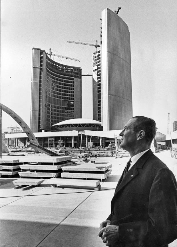 Finnish architect Viljo Revell surveys his work in October, 1964, shortly before his death.