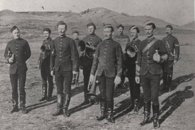 Fort Wash, Sask., 1879: Officers of the North-West Mounted Police. In B.C. and other provinces, the rise of provincial police forces nearly made the Mounties (renamed the Royal Canadian Mounted Police in 1920) obsolete.