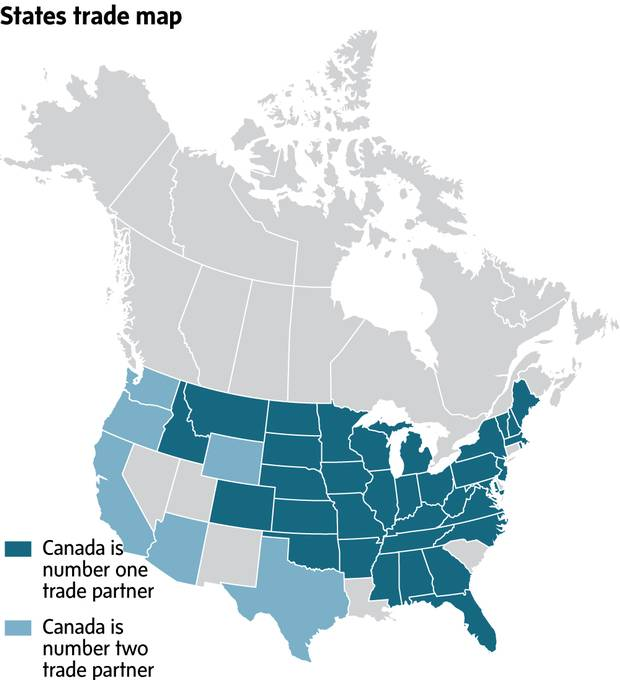 For years, the Canadian government has repeated its claim that Canada is the most important foreign market for 35 U.S. states. This map is posted on a government website that promotes trade.
