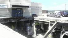 The collapsed roof of the Algo Centre Mall. (Jordan Dorion)