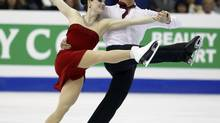 Tessa Virtue and Scott Moir of Canada perform during the ice dance free dance at the ISU World Figure Skating Championships in Nice March 29, 2012. (ERIC GAILLARD/REUTERS)