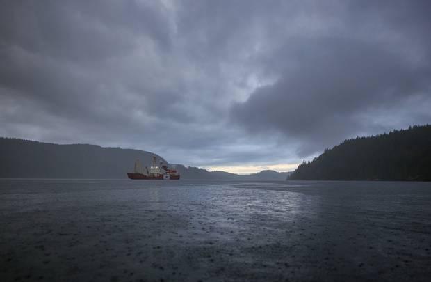 The icebreaker Polar Prince anchored in Desolation Sound, B.C.