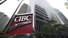 The large CIBC sign located outside the bank's Bay St. office building in downtown Toronto on Sept 13 2013. (Fred Lum/The Globe and Mail)