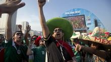 A Mexico soccer fan cheers before his team's World Cup match with Brazil inside the FIFA Fan Fest area on Copacabana beach in Rio de Janeiro, Brazil, Tuesday, June 17, 2014. (Silvia Izquierdo/AP)
