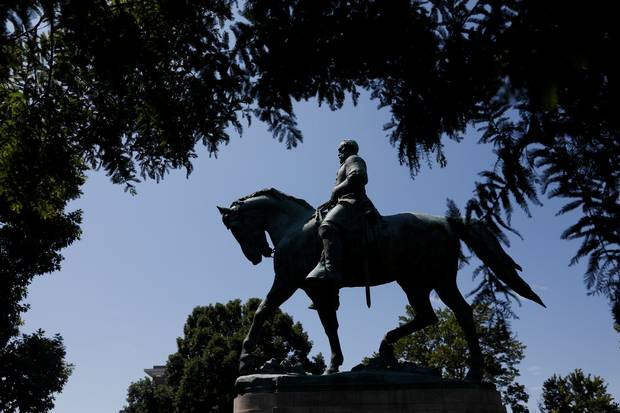 The statute of Robert E. Lee sits at the center of the park formerly dedicated to him, the site of recent violent demonstrations in Charlottesville, Virginia.