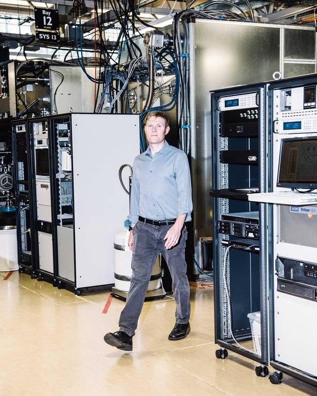 Head of systems Jeremy Hilton inside D-Wave's lab;