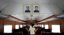 Inside a train carriage of the single daily train that links the town of Sinuiju near the northern Chinese border to the capital Pyongyang. (Sean Gallagher Photography/Sean Gallagher Photography)