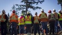 Construction workers in Comox, B.C. on April 23, 2013. (John Lehmann/The Globe and Mail)