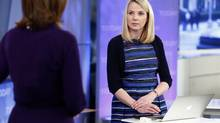 "Yahoo Chief Executive Marissa Mayer (R) appears on NBC News' ""Today"" show in New York, February 20, 2013. (HANDOUT/REUTERS)"