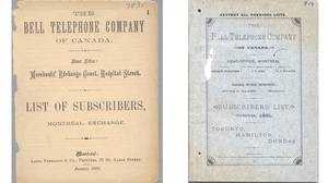 (LEFT) Montreal Bell Telephone directory, January 1882. (RIGHT)Toronto Bell Telephone Company of Canada directory October 1881 Toronto, Hamilton, Dundas.