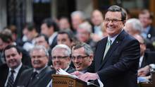 Minister of Finance Jim Flaherty smiles as he delivers the federal budget in the House of Commons on Parliament Hill in Ottawa on Thursday, March 29, 2012. (Sean Kilpatrick/The Canadian Press/Sean Kilpatrick/The Canadian Press)