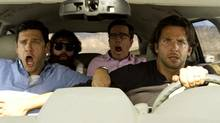 From left, Justin Bartha, Zach Galfianakis, Ed Helms and Bradley Cooper in The Hangover Part III. (WARNER BROTHERS PICTURES/The New York Times)