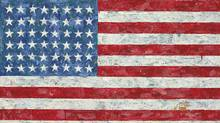 "This undated photo provided by Christie's auction house shows Jasper Johns' ""Flag,"" a pop art rendition of the American flag created in the 1960s that author Michael Crichton bought from the artist in 1973. (Christie's/AP)"