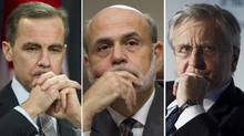 Left to right, Mark Carney, Ben Bernanke, Jean-Claude Trichet