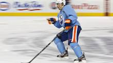 Edmonton Oilers forward Jordan Eberle skates backwards during a drill at the Oilers NHL training camp in Edmonton, Alta., on Tuesday January 15, 2013. (JASON FRANSON/THE CANADIAN PRESS)