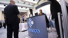 The Cameco booth at the Prospectors and Developers Association of Canada's convention in Toronto in March. (Michelle Siu For The Globe and Mail)