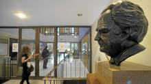 Photos of a bust of Nothrop Frye that sits on a pedestal near the entrance to Northrop Frye Hall , part of Victoria College at the University of Toronto. Frye was a professor of English at Victoria College from 1937 till 1991 and was Chancellor of Victoria Collee from 1987-1991. (Fred Lum/The Globe and Mail/Fred Lum/The Globe and Mail)