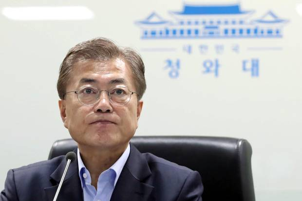 South Korea's President Moon Jae-In attends an emergency meeting of the National Security Council in Seoul on May 14, 2017.