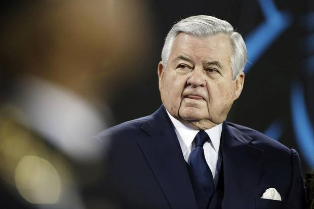 Jan. 24, 2016: Carolina Panthers owner Jerry Richardson watches before the NFC Championship game against the Arizona Cardinals in Charlotte, N.C.