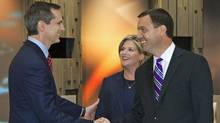 Ontario Liberal Leader Dalton McGuinty, left, NDP Leader Andrea Horwath, centre, and PC Leader Tim Hudak shake hands moments before the Ontario election leaders debate in Toronto on Sept. 27, 2011. (Fran Gunn/Frank Gunn/The Canadian Press)