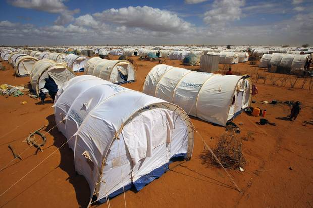 Tents cover the landscape at the UNHCR's Ifo Extension camp outside Dadaab, eastern Kenya, 100 kilometres from the Somali border. Migrants fleeing war in Somalia and Sudan usually head south to countries like Kenya or South Africa, or north to Europe. But those destinations are increasingly difficult to reach.