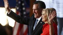 Republican presidential nominee Mitt Romney waves with his wife Ann Romney after she addressed the second session of the Republican National Convention in Tampa, Florida August 28, 2012. (JASON REED/REUTERS)