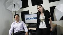 Daphne Koller, right, and Andrew Ng are the founders of online education provider Coursera. (RAMIN RAHIMIAN/NYT)