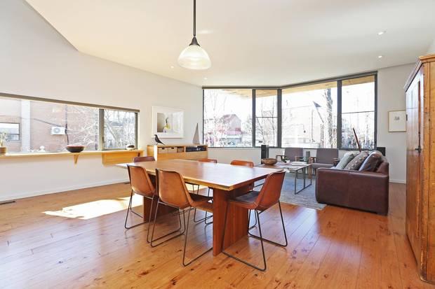 The living room overlooks Carlton Park.
