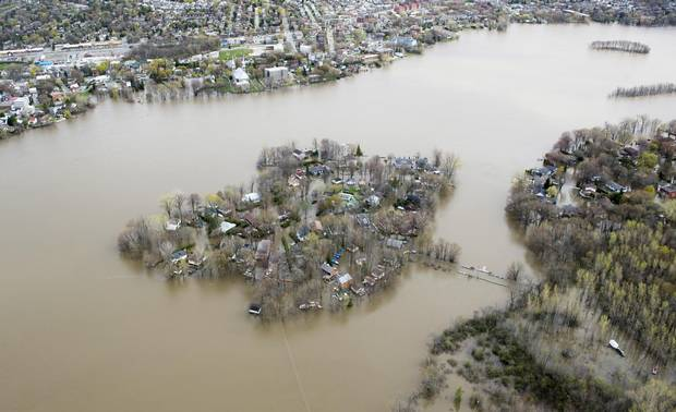 Ile Mercier covered in floodwater is seen on the Riviere des Prairies on the north part of Montreal, on May 8, 2017.