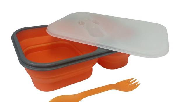 After lunch, this three-compartment silicone box from Smart Planet Home collapses to half the size, making it easy to tuck into a backpack. It also comes with a spork nestled inside the lid. $29.95, rolostore.com