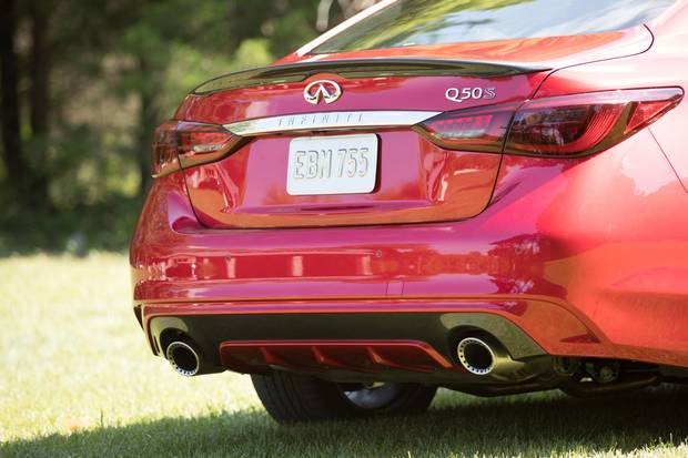 The 2018 INFINITI Q50 sports sedan features a refreshed exterior and interior design, as well as innovative technologies designed to empower and support the driver. While it retains its sleek proportions and athletic stance, the new Q50 establishes greater visual differentiation between model versions, including the performance-inspired Red Sport 400, which is designed in line with its