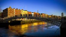 The Ha'penny Bridge crosses the River Liffey, which is lined with stunning old Georgian buildings rivalling any in Europe. (DRTA)