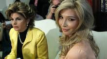 "Jenna Talackova, right, who advanced to the finals of the Miss Canada competition, part of the Miss Universe contest, and was recently forced out of the competition, appears with her attorney Gloria Allred at a news conference in Los Angeles Tuesday, April 3, 2012. Talackova says she was forced out of the competition because Pageant officials alleged she was not ""a naturally-born female."" (Reed Saxon/ The Associated Press/Reed Saxon/ The Associated Press)"