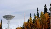 One of two dishes at the satellite station facility located outside the town of Inuvik, NWT. Germany and Sweden own the two, while Canada is planning to build a third dish to fill in gaps in its satellite surveillance network, largely for research and monitoring land, sea and ice conditions. (Terry Halifax)