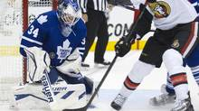 Leafs netminder James Reimer makes a save during the first period of the preseason game between the Toronto Maple Leafs and the Ottawa Senators at the ACC in Toronto on Sept. 24, 2013. (Peter Power/The Globe and Mail)