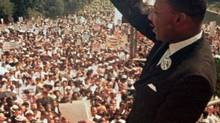 Rev. Martin Luther King Jr. acknowledges the crowd for his I Have a Dream speech in Washington on Aug. 28, 1963. The 50th anniversary of his brilliant oration was bad timing for the pro-like crowd. (AP)