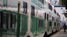 Toronto commuters faced 60-minute delays on the GO Train due to signal problems on April 26, 2012. (Peter Power/Peter Power/ The Globe and Mail)
