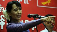 Myanmar democracy icon Aung San Suu Kyi delivers a speech during a ceremony to mark her father General Aung San's 96th birth anniversary at the National League for Democracy (NLD) headquarters in Yangon on February 13, 2011. (SOE THAN WIN/SOE THAN WIN/AFP/Getty Images)
