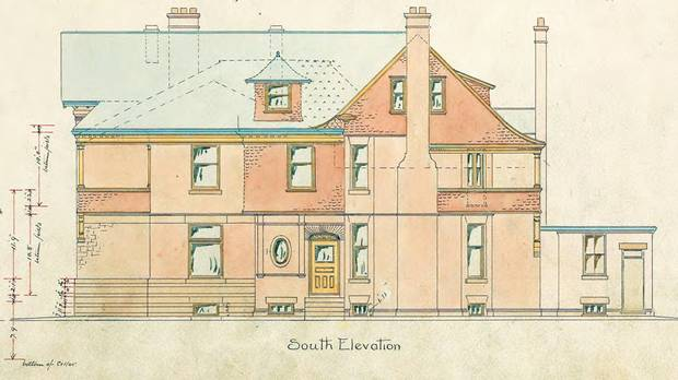 Original drawings by architect Edmund Burke for the Anson Jones house.